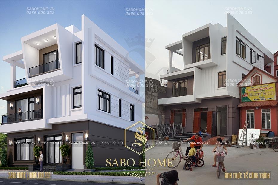 Hình ảnh thực tế mẫu biệt thự hiện đại 3 tầng