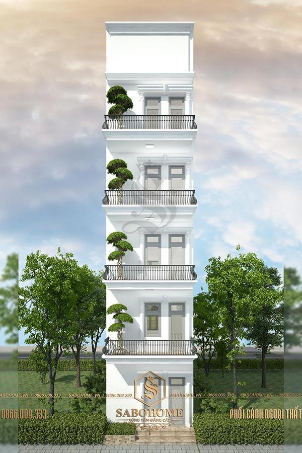 mẫu thiết kế nhà phố 5 tầng tân cổ điển bt 1962