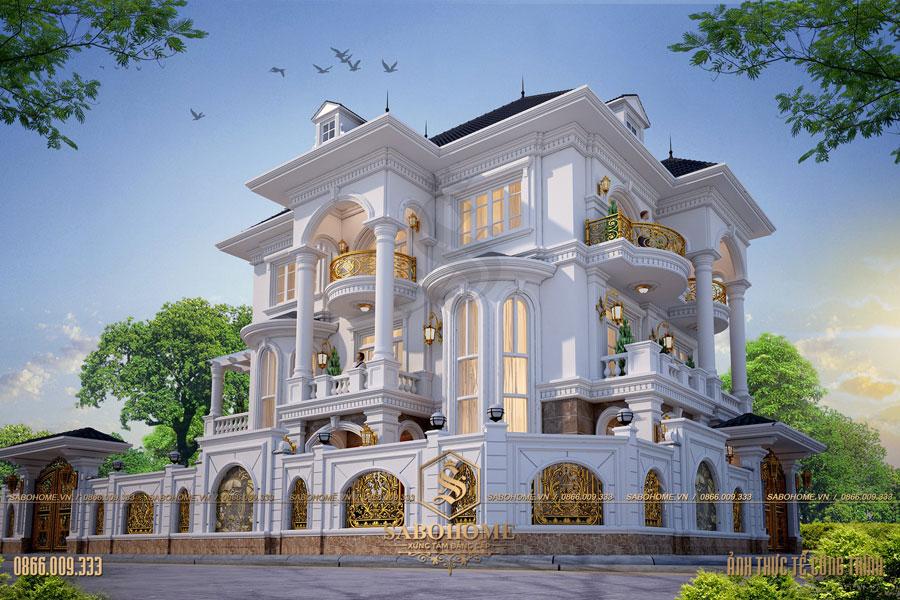 thiết kế biệt thự tân cổ điển 3 tầng bt 2093