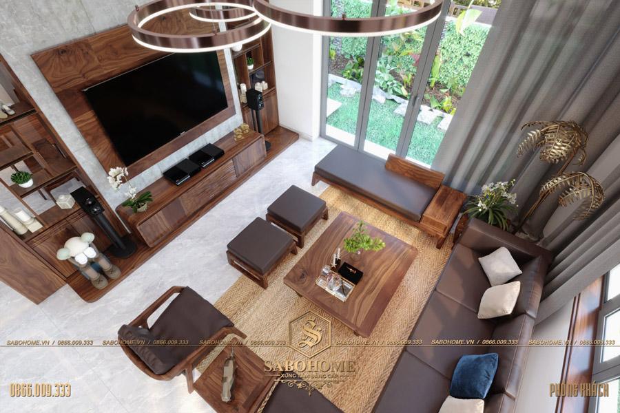 thiết kế nội thất phòng khách biệt thự hiện đại bt 2063 02