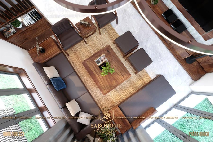 thiết kế nội thất phòng khách biệt thự hiện đại bt 2063 05