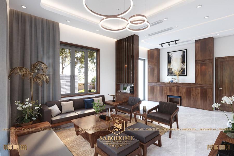 thiết kế nội thất phòng khách biệt thự hiện đại bt 2063 07