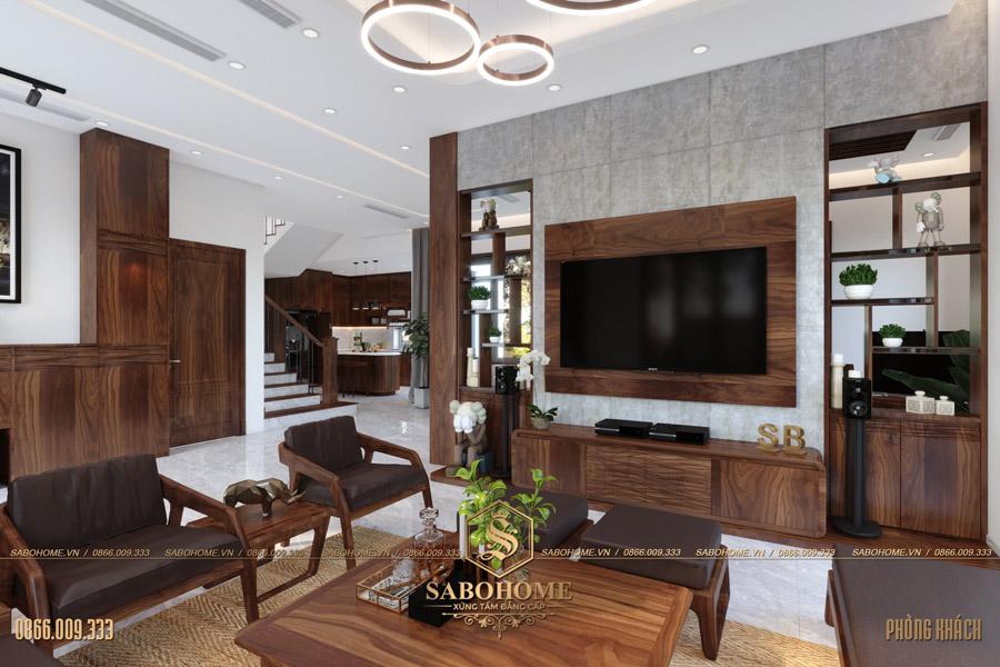 thiết kế nội thất phòng khách biệt thự hiện đại bt 2063 09