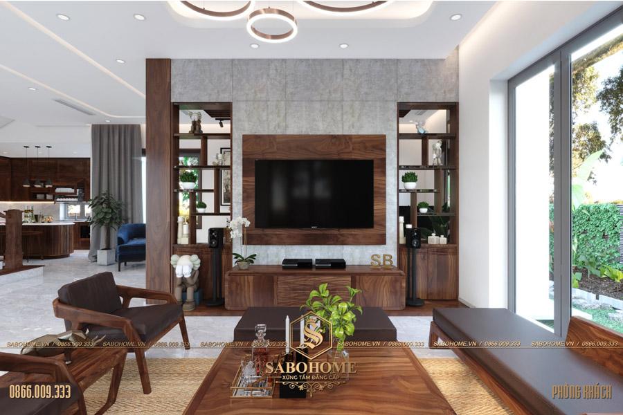 thiết kế nội thất phòng khách biệt thự hiện đại bt 2063 10