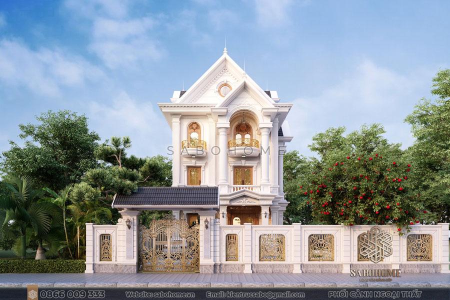 thiết kế biệt thự tân cổ điển 3 tầng bt 2103